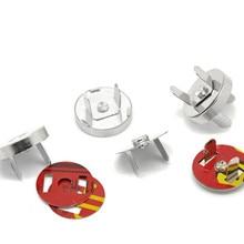 Купить с кэшбэком 100 Sets Wholesale Round Magnetic Purse Snap Clasps Closure Fermoir Silver Tone DIY Purse Handbag Making 18mm