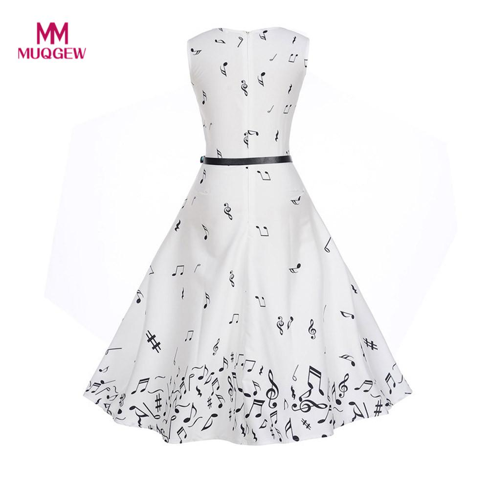 Women Vintage Printing Vintage dress summer Sleeveless O Neck Casual Evening Party Prom Swing White Dress