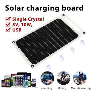 Image 2 - פנל סולארי קמפינג 5V 10W 2A עמיד שמש מטען לוח טלפון מטען מהיר מטען USB יציאת טיפוס שמש גנרטור חיצוני