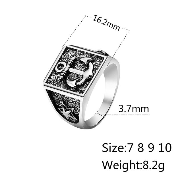 Vintage Anchor Ring For Men Jewelry Free Shipping Cool Signet Ring Men Carved Star Vintage Ring Male Jewelry