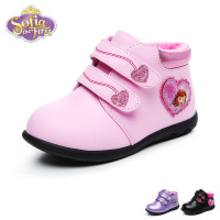 Disney Sofia Baby Girl Casual Shoes Winter Warm PU Sneaker Fashion Kid Lovely Soft Princess Casual