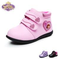 Disney Sofia Baby Girl Casual Shoes Winter Warm PU Sneaker Fashion Kid Lovely Soft Princess Casual