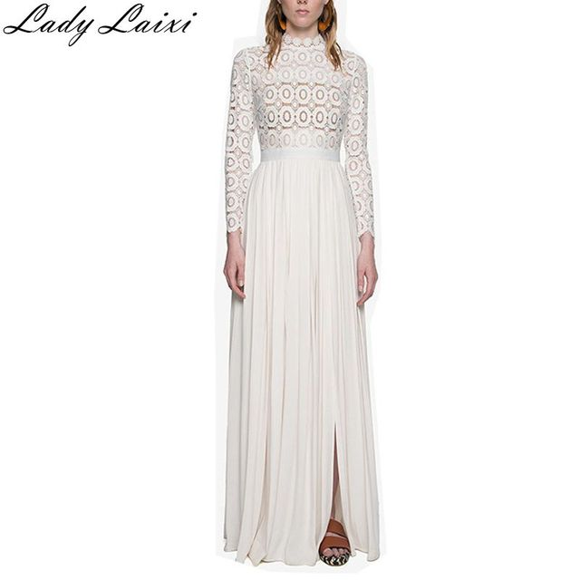 54626b7f07c 2017 new arrive long sleeve white lace women long casual Dress spring  runway designer party dresses maxi dress