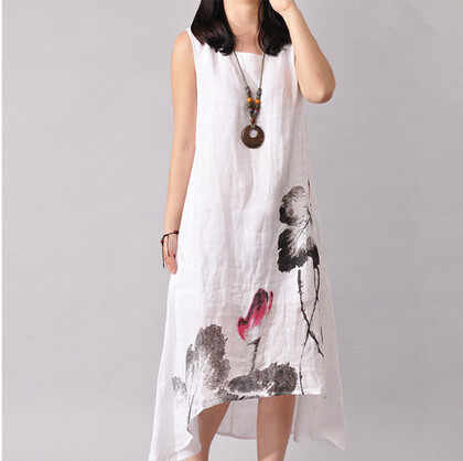 5bf2647cbba New Summer Ink Sleeveless Long Dress Maternity Dresses Pregnant Clothes For  Pregnant Women Cotton Linen Dress
