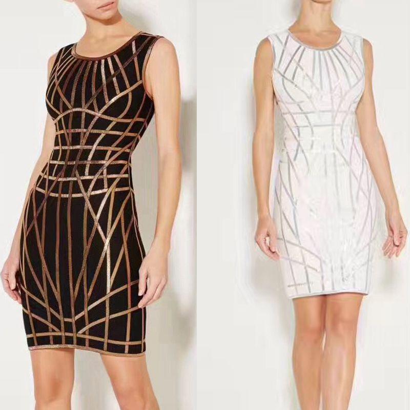 Robe géométrique sans manches automne élégant femmes robes sexy dos nu noir or bandage robe dame courte club robes de soirée