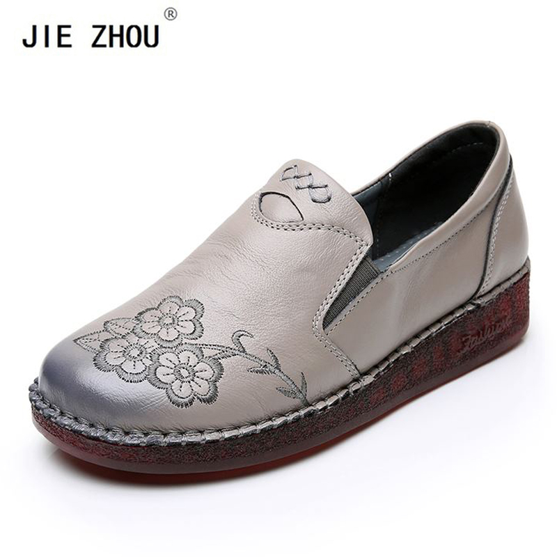 Fashion Women Flats Embroidered Flowers Handmade shoes Woman Loafers Genuine Leather Comfort Casual Women's shoes