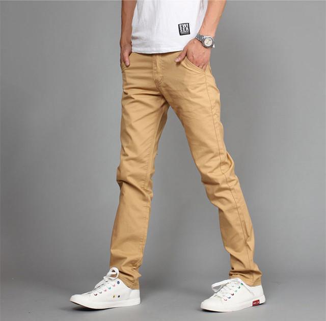 2016 primavera do fashionMen Slim Fit Calça Casual calças Meados cintura de algodão calças Retas dos homens sólida cáqui corredores 36