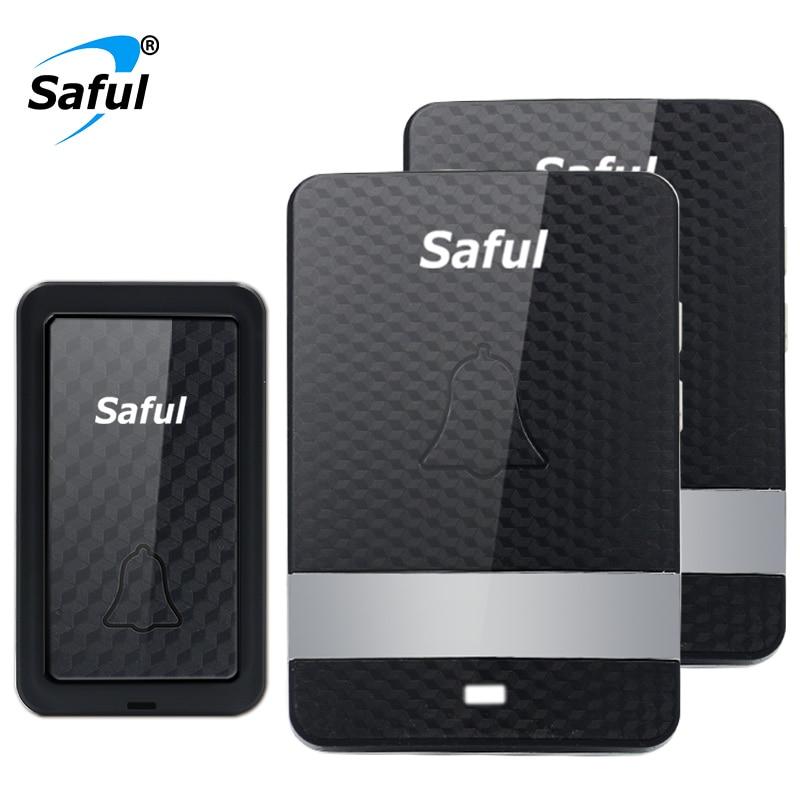 Saful  New Wireless Waterproof Doorbell Self-powered Black doorbell with 1 Outdoor Button +2 Indoor Receiver EU/UK/US/AU plug