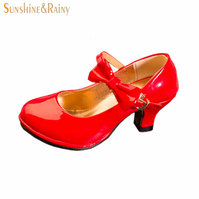 Classic Bow Girl PU Leather Shoes For Girls Party Dance Children Kids Shoes 2-14 Years Princess High Heels Child Wedding Shoes