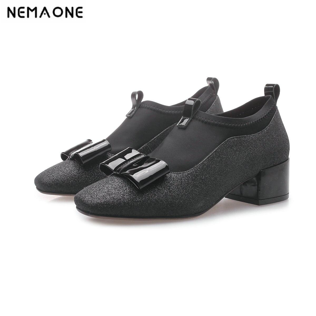 NEMAONE Novo 4 cm saltos quadrados mulheres bombas genuína sapatos de couro do dedo do pé quadrado sapatos das senhoras das mulheres primavera outono