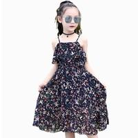 Girls Sundress Kids Sleeveless Print Dresses Infantil Vestdios Girls Condole Belt Chiffon Dress Girls Beach Shoulderless Dresses