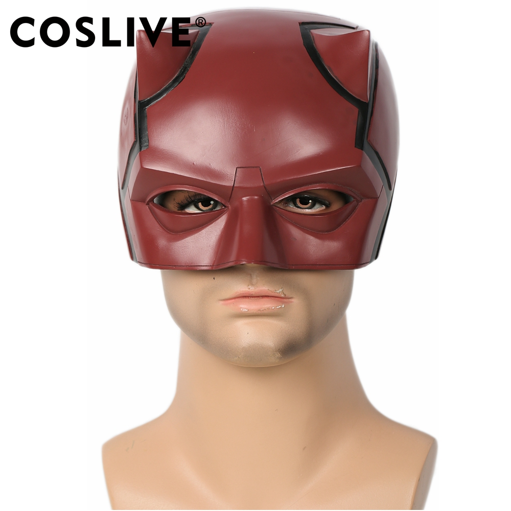 Coslive New Version Daredevil Cosplay Costume Red Resin Adult Half Face Helmet Mask for Halloween
