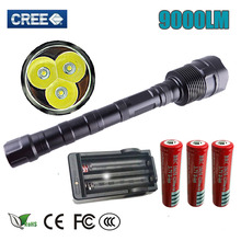 LED Flashlight High CREE XM-L 3T6 Power 9000Lumen 5 Mode Torch Lamp Light Super Bright led light for Camping Hunting fishing