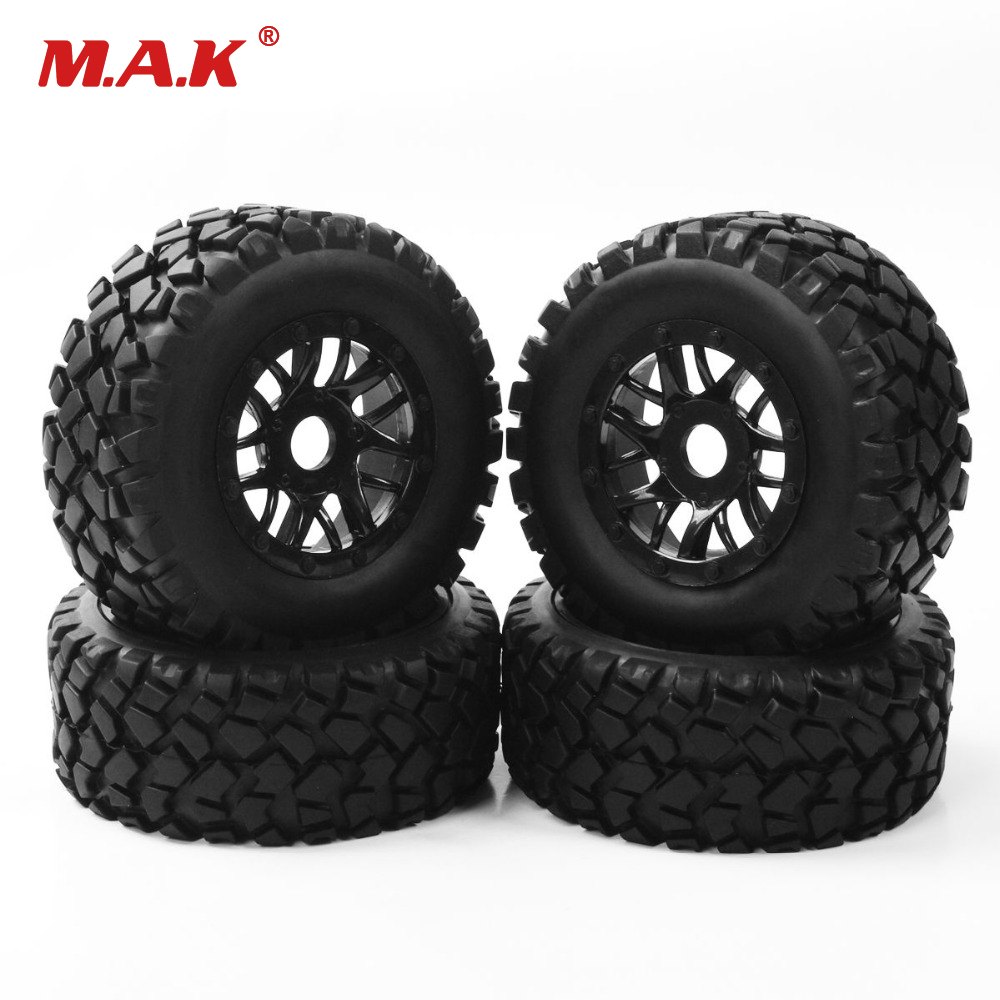 4PCS/set RC accessory 1:10 short course truck tyre tire wheel rim TRAXXAS SLASH PP0339+PP1003K 17mm hex car model parts injora 4pcs short course truck rubber tire