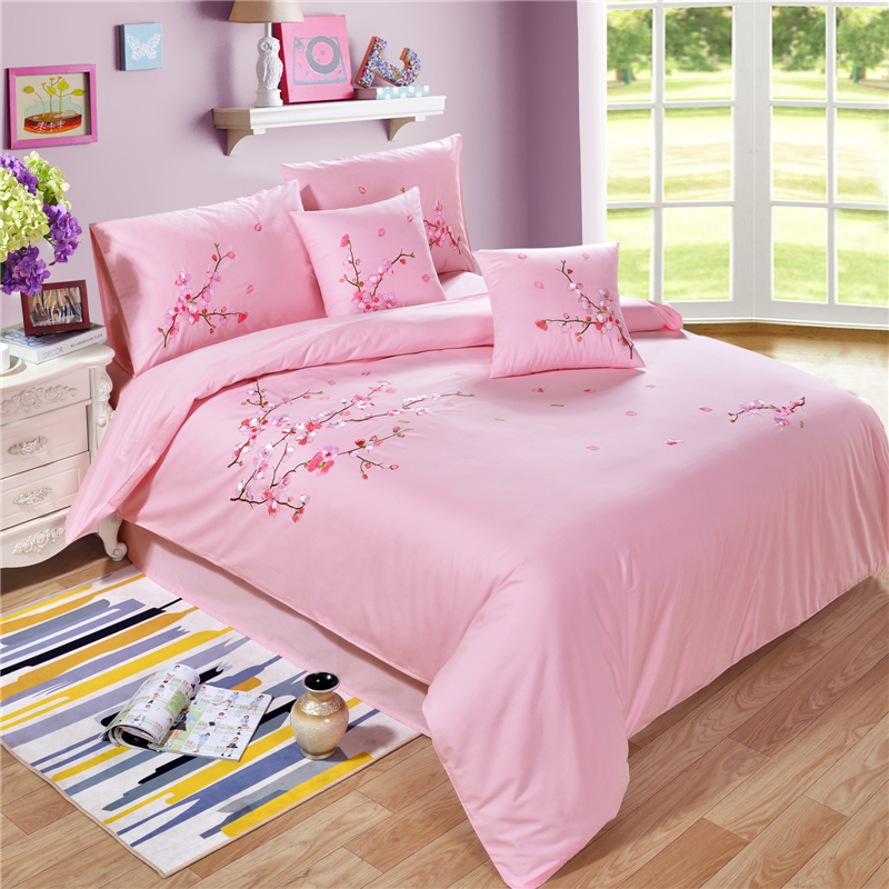 4 Pieces Duvet Cover Bed Sheet Pillowcase Sets Solid Color Embroidered Embroidery 100%Cotton with Button (King/Queen,Pink)4 Pieces Duvet Cover Bed Sheet Pillowcase Sets Solid Color Embroidered Embroidery 100%Cotton with Button (King/Queen,Pink)