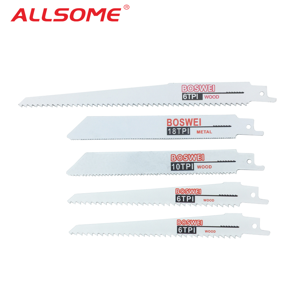 ALLSOME 5pcs Reciprocating Saw Blade Jig Saw Blades For Wood Cutting Woodworking Tools Power Tool Accessories HT2506+