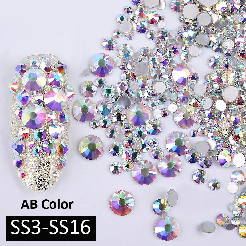 1 упаковка AB Цвет смешанные (SS3-SS16) ногтей Книги по искусству стразы серебро Flatback Стекло хрустальные камни не исправление блеск украшения для ногтей