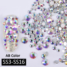 1Pack AB Color Mixed(SS3-SS16) Nail Art Rhinestones Silver Flatback Glass Crystal Gems Non Hotfix Glitter Decorations For Nails 1pack mix sizes crystal flame rainbow non hotfix flatback glitter nail rhinestones nails accessories nail art decorations strass