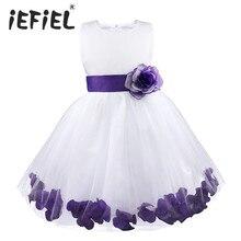 עלי כותרת של פרח הילדה תינוק תינוק ילדי ילדי שמלת שושבינה תחרות פעוט שמלה אלגנטית Vestido שמלת צד פורמלי טול Infantil