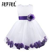 Dzieci niemowląt dziewczyna kwiat płatki sukienka dzieci druhna maluch elegancka sukienka korowód Vestido Infantil Tulle sukienka na formalną imprezę