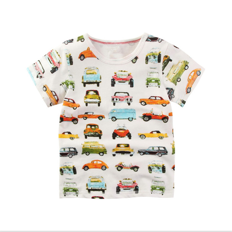 Baby boys novelty short sleeve cartoon t shirts with printed some cartoon cars kids top  ...