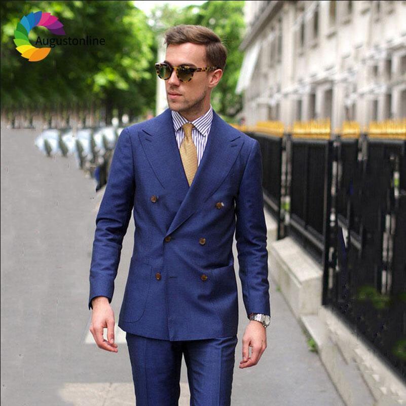 Hombre Unidades As Boda Picture Doble chaqueta Padrino Trajes Pantalones  Para Breasted Negocios De 2 as Picture Fit 2019 Traje Novio Slim ... 27a0c3ec07d