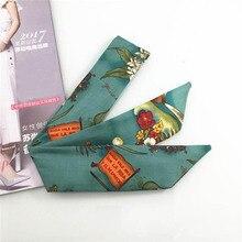 Haimeikang Retro Headwear Floral Print Headband Turban Women Playful DIY Hair Bands Ribbons for Women Hair Accessories