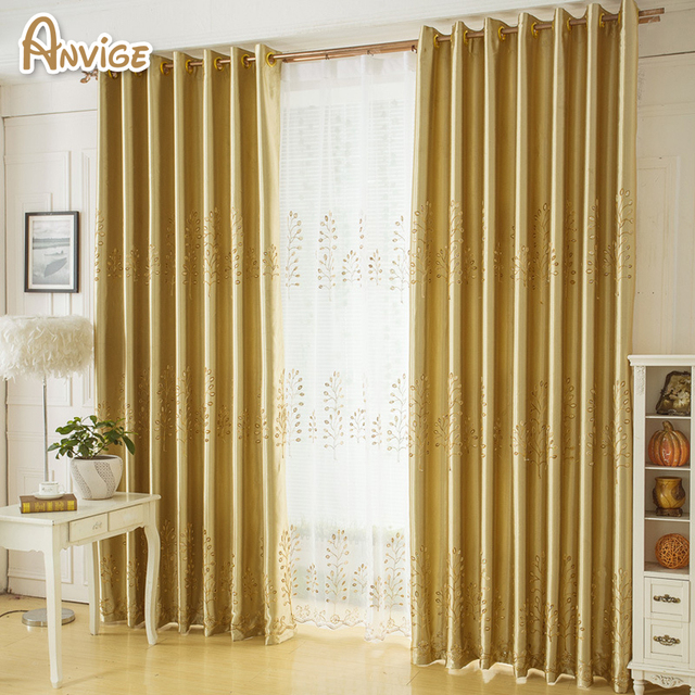 Golden Color Tree Pattern Window Curtains For Living Room Bedrooms Hotel Customized Khaki