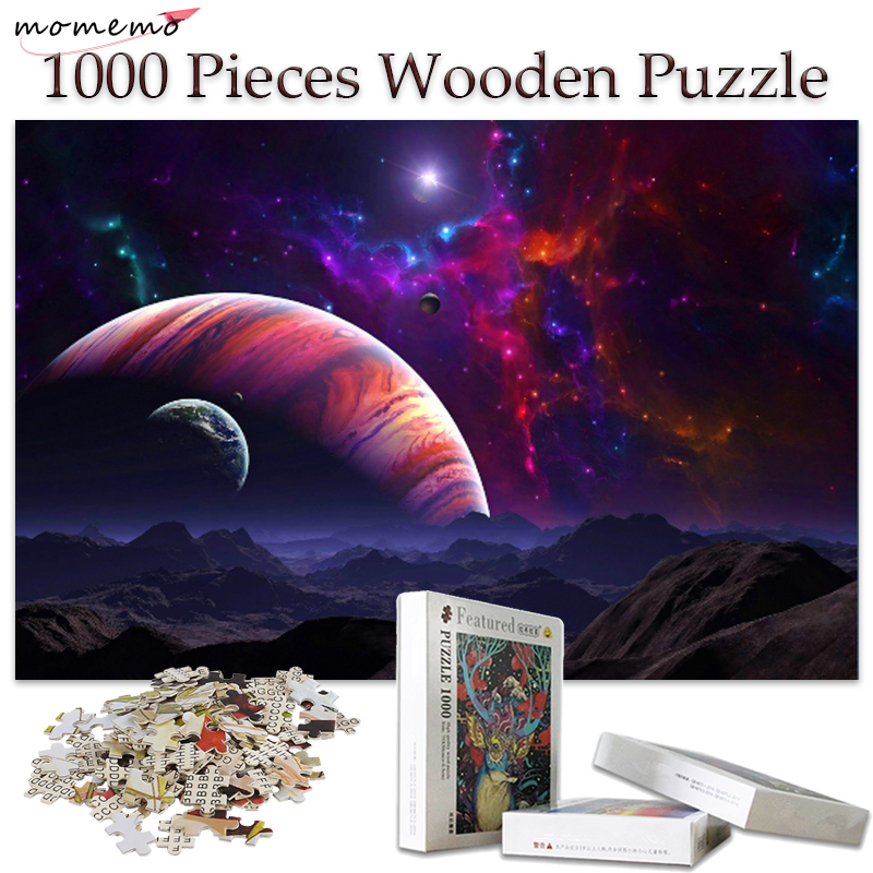 MOMEMO Universe Wooden Jigsaw Puzzle 1000 Pieces Adult Wooden Toys Puzzle Games 1000 Pieces Puzzles for Kids Educational Toys