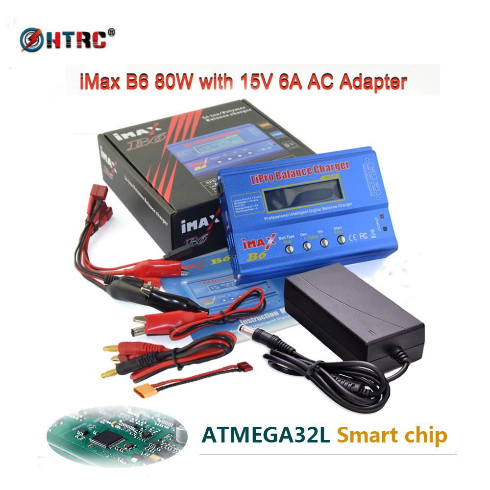HTRC iMAX B6 80W 6A Battery Charger Lipo NiMh Li-ion Ni-Cd Digital RC Charger Lipro Balance Charger Discharger + 15V 6A Adapter