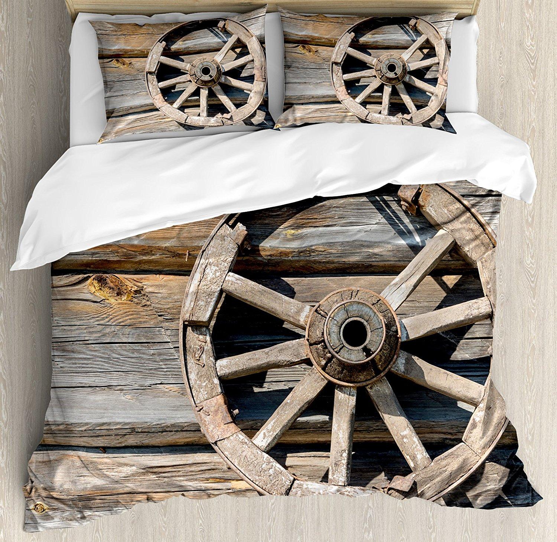Barn Wood Wagon Wheel Duvet Cover Set Old Log Wall with Cartwheel Telega Rural Countryside Themed Image Bedding Set Umber Beige