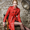 Fashion single breasted turn down collar medium-long PU leather trench coat women slim waist faux leather jacket with belt 4