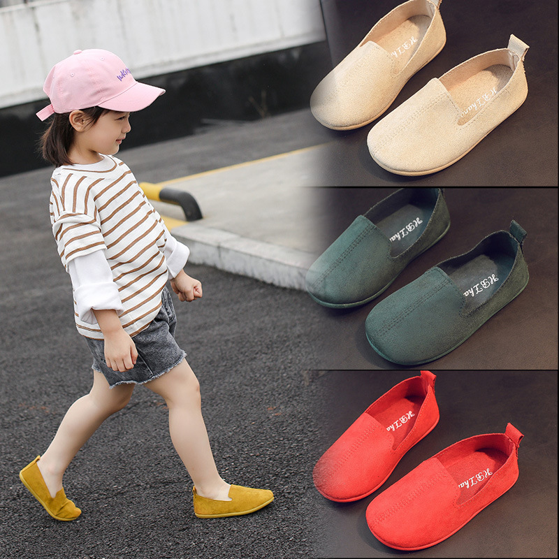 Children Casual Slip-on Flat Shoes Boys Girls Toddler Baby Light-weight Soft Sole Retro Espadrilles Kids Spring Autumn Moccasins