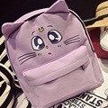 Harajuku Style Backpack Sailor Moon Canvas Backpack Cute Fold Cat Shoulder Bag School Bags For Teenager Girls Book Bag Rucksack