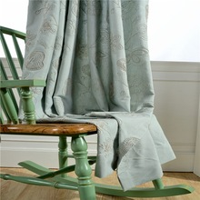 Modern Solid Color Cotton Linen Blackout Curtains For Living Room Window Custom Made Embroidered plants New