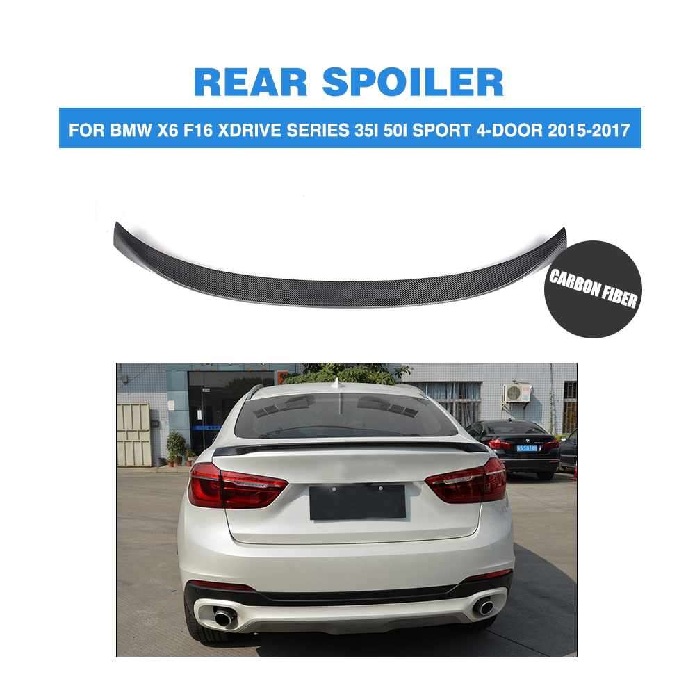 Carbon Fiber For F16 X6 Rear Spoiler Trunk Boot Wing for BMW X6 Spoiler F16 xDrive Series SUV P Style 2015-2017 for mercedes w205 spoiler c class w205 c180 c200 c220 c250 c300 carbon fiber rear spoiler trunk wing 2014 2015 2016 c74 style