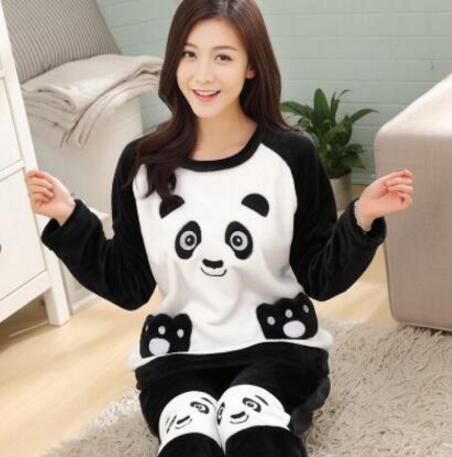 Winter Pyjamas Women Polyester Full Trousers Lady Two Piece Pajama Set Cartoon Flannel Female Home Clothing Womens Pajamas Sets