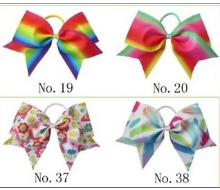 100 BLESSING Good Girl Rainbow Unicorn 7 Cheer Leader Hair Bow Elastic 49 No.