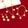 Collar pulsera Pendientes Set Alemania España Francia Coin Dinero Signo Mujeres 24 k Chapado En Oro Filled Árabe África Europa Joyería