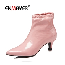 ENMAYER Women Ankle Boots  Lady High Heel Cow Leather Botas Mujer Big Size 34-43 Winter Solid Pointed Toe Front Zipper CR1902