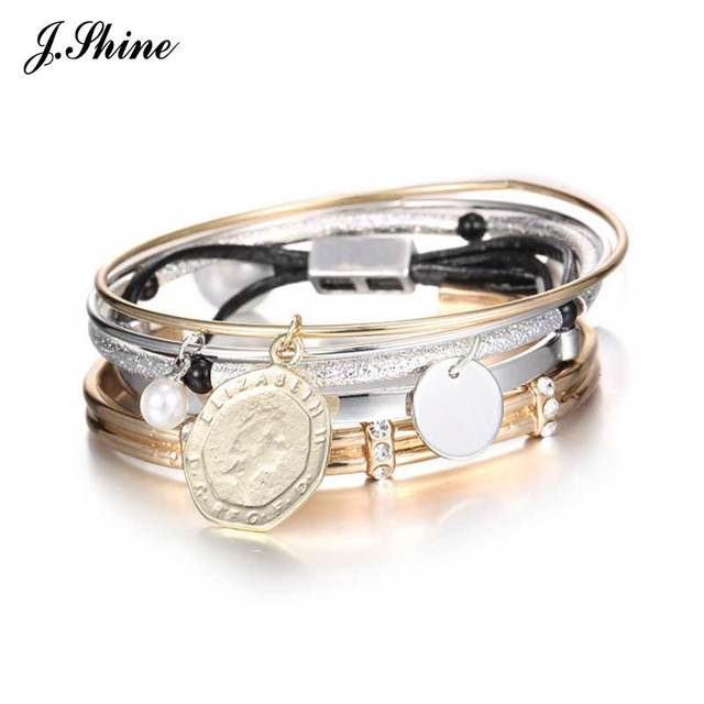 Multi Pieces Punk Style Vintage Copper Charm Bracelets for Women Imitation Pearl Pendant Adjustable Opening Bangle Cuff Bijoux