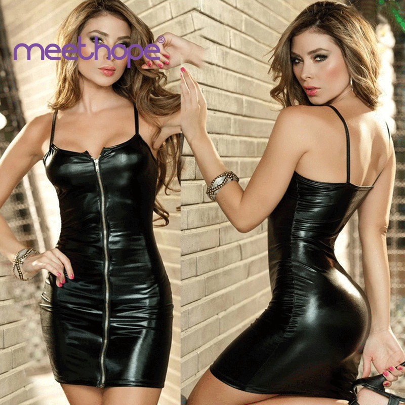 Erotic Sexy Lingerie Plus Size Women Erotic Dress Faux Leather Zip Exotic Apparel Sex Bondage Costumes Underwear 2019 M-XXL(China)