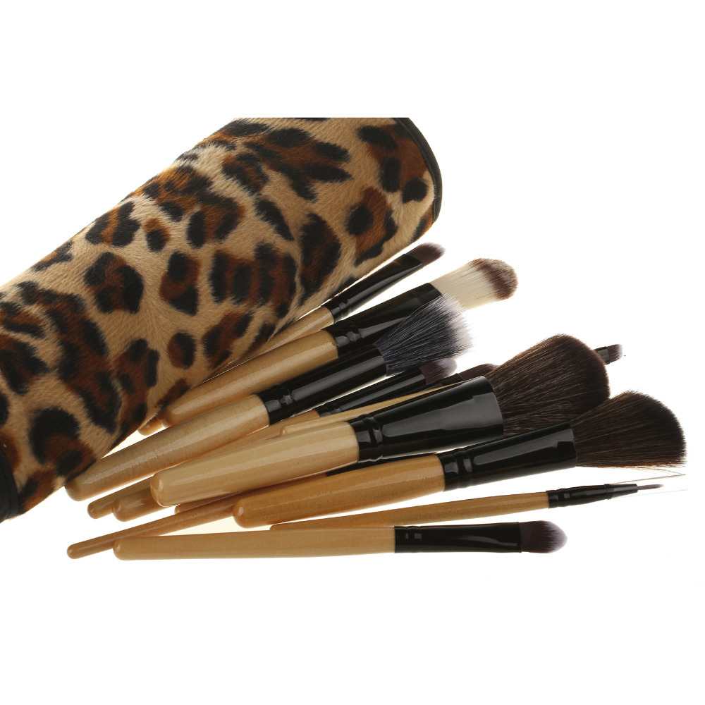 12pcs Makeup Brush Set Eyeshadow Shadow  Powder Brushes  Women/Salon Beauty Tool With Leopard Design Holder Bag STSN beauty golden black professional 4 pcs set salon party home use eyeshadow makeup brush cosmetic tool brushes with case