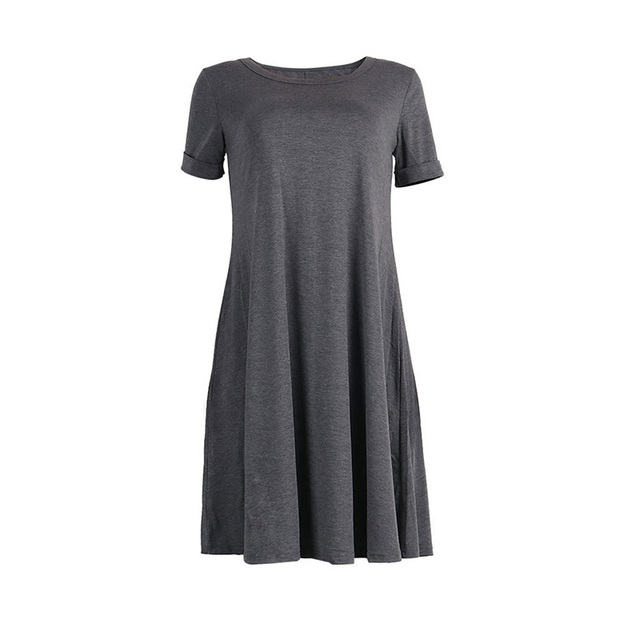 add3a71e76 Cotton T Shirt Dress Summer 2018 Fashion Short Sleeve Women Everyday  Dresses Knee Length Loose Casual Women Dress Clothing product id 468393 on  OurMall.com ...