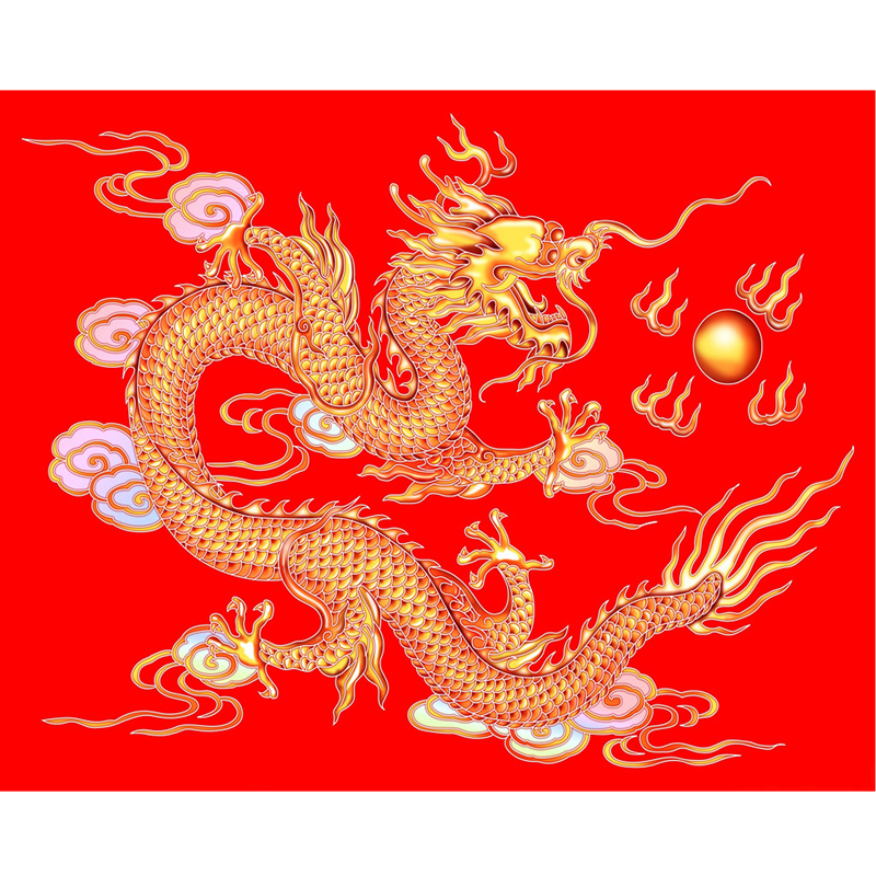 Handicraft painting Diamond Embroidery The Chinese dragon Red dragon Fireball Diamond Painting cross stitch Square Full Drill