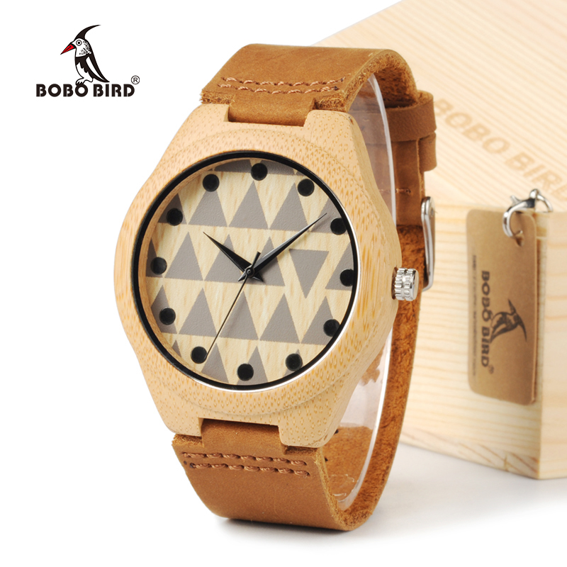 BOBO BIRD New Desiger Men's Top Brand Luxulry Wooden Wristwatches Round Leather Bands Handmade Wood Watches in Gift Box bobo bird brand new sun glasses men square wood oversized zebra wood sunglasses women with wooden box oculos 2017
