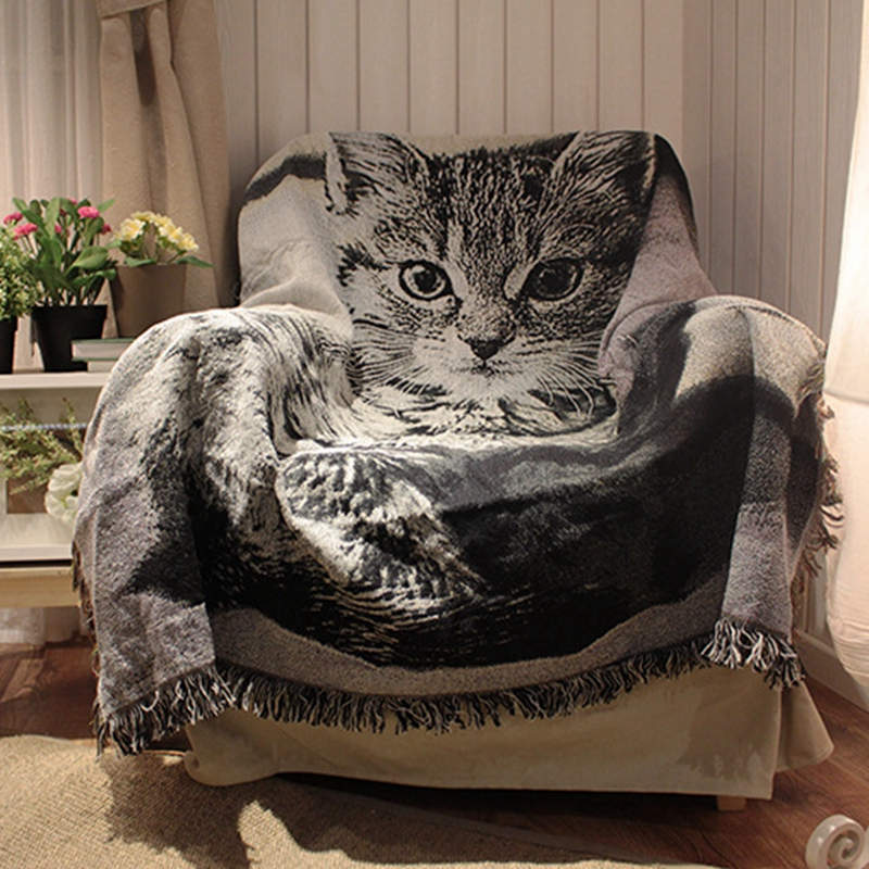 Classic Cat Dog Pattern Sofa Throw Tassels Couch Bed Sofa