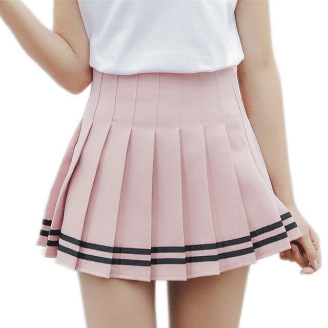 2017 Hot Mini Pleated Women Skirts Shorts High Waist White A-Line Short  Skirts Uniforms