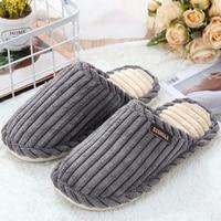 Home slippers for men corduroy cheaper designer short plush winter slippers men warm comfortable non-slip male slippers