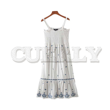 CUERLY women elegant striped embroidery patchwork midi dress 2019 backless spaghetti straps slim fit female chic casual dresses